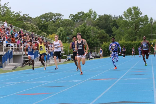 Rockford Christian's Gage Wiebe, third from left, sprints to the finish line to help his squad take fourth place in the 400-meter relay final at the boys Class 2A state track and field meet on Friday, June 18, 2021, in Charleston.