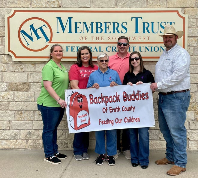 The Stephenville branch of Members Trust of the Southwest Federal Credit Union hosted its Member Appreciation Day last month and received a check for $500 from the raffle proceeds, which was donated to Backpack Buddis of Erath County. Pictured are MTFCU Branch Manager Amanda Treece; Backpack Buddies Board members Julie Howell, Dee Cox, Spencer Sligh, and Ivore Garza; and MTFCU Business Lending Specialist, Lance Gilliland.