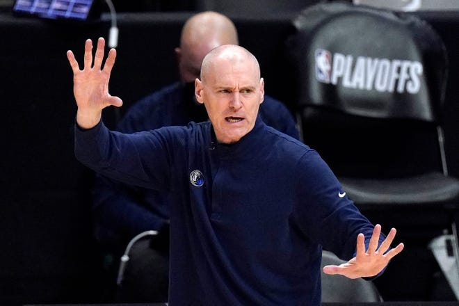 Dallas Mavericks head coach Rick Carlisle gestures during the second half in Game 1 of an NBA basketball first-round playoff series against the Los Angeles Clippers in Los Angeles on May 22. Carlisle stepped down as coach of the Mavericks on Thursday, the second major departure for that franchise in as many days.