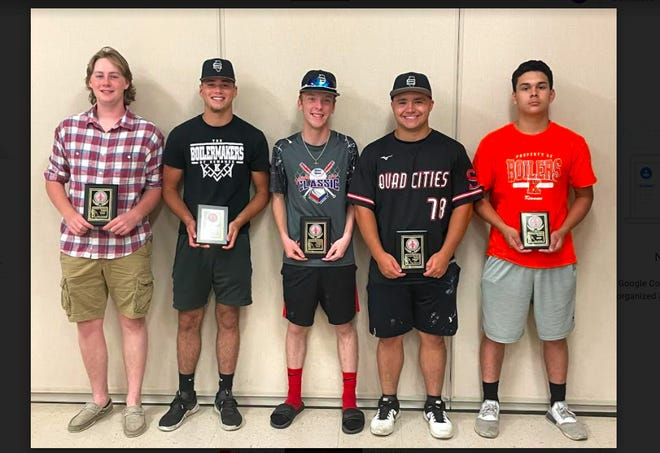 Recipients of Kewanee High School's baseball awards were, from left: Henry Burkhart (Coaches Award); Will Bruno (Defensive MVP); Dylan Armstrong (Cy Young Award); Josh Nimrick (Offensive MVP); and Cruz Paredes (F/S MVP). Missing from the photo is Corbyn Powers (F/S Coaches Award).