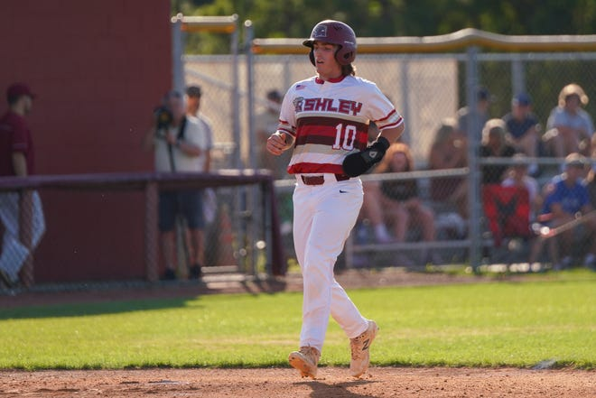 Branton Jernigan makes it to home for Ashley in the second round of the 4A State Championship tournament Thursday.  June 17, 2021.  [KEN OOTS/FOR STARNEWS]