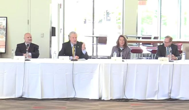 Gov. Charlie Baker and Lt. Gov. Karyn Polito were among the attendees at a forum on early college education Friday at Worcester State University.