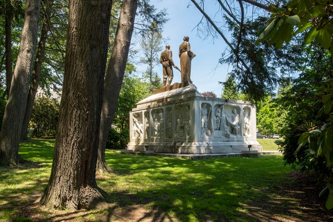 The Rogers-Kennedy Memorial, at Park Avenue and Highland Street, was conceived by a sculptor in Italy.