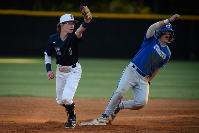 Terry Sanford's Hunter Wiggins (1) was one of eight Bulldogs to help the program make school history this season.