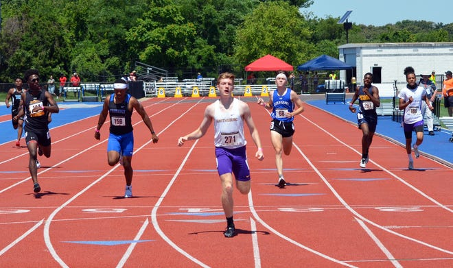 Smithsburg's Cameron Rejonis crosses the finish line to win the boys 400-meter dash at the Maryland Class 1A State Track & Field Championships on Friday at the Prince George's Sports & Learning Complex.