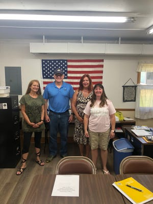 Sen. Frank Hoagland visited with Bowerstown Mayor Jacquie Humphrey, Council member Polly Wolfe and Council President Paula Beamer.
