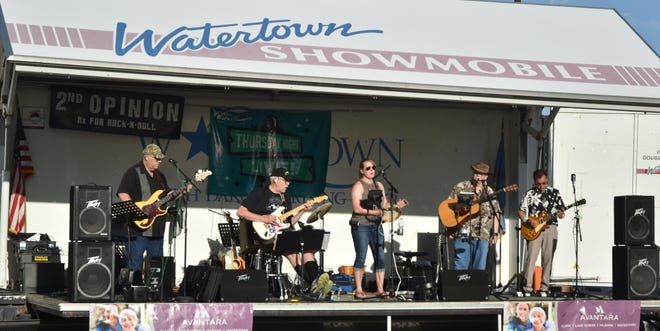 The 2nd Opinion Band performs in downtown Watertown Thursday evening as part of Thursday Night Live!