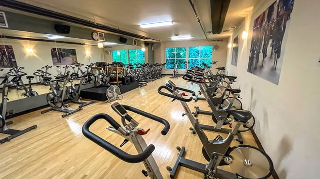 A spin studio at the Bainbridge Athletic Club.