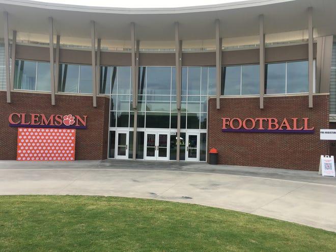 The entrance to Clemson's indoor practice field (Eric Boynton/Herald-Journal Photo)