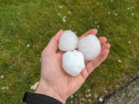 Large hail was reported in the Castleton area during severe weather Friday.