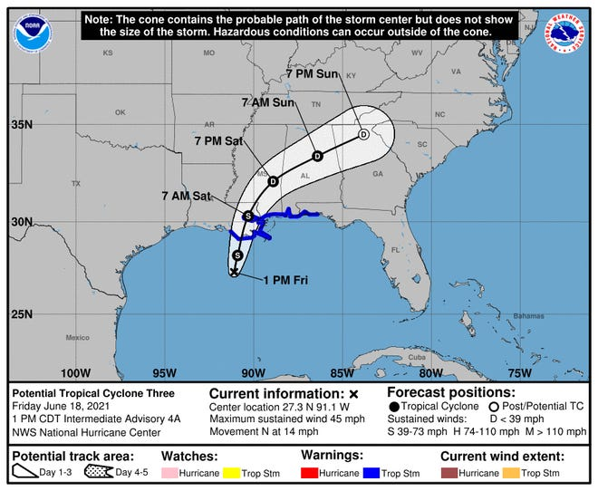 1 p.m. CT forecast for Potential Tropical Cyclone Three on Friday, June 18, 2021.