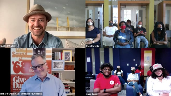 Justin Timberlake, top left, appears during a video event with students of the Stax Music Academy and their families on June 17, 2021.