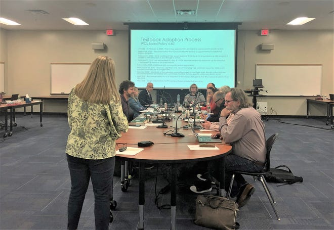 The WCS Board of Education discusses the textbook adoption cycle with Director of Curriculum Jenny Lopez on Thurs., June 18, 2021 in Franklin, Tenn. The conversations came as a result of mixed feedback on current elementary English  Language Arts curriculum, Wit & Wisdom.