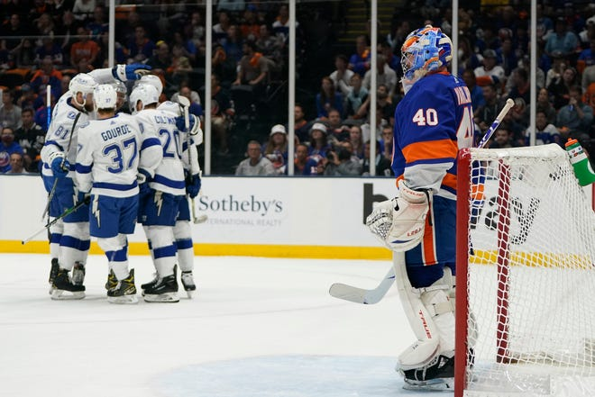 New York Islanders goaltender Semyon Varlamov (40) reacts after the Tampa Bay Lightning scored a goal during the first period of Game 3 of the Stanley Cup semifinals, Thursday, June 17, 2021, in Uniondale, N.Y. (AP Photo/Frank Franklin II)