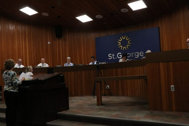 St. George budget manager Deanna Brklacich discusses final changes to the proposed 2021-22 St. George budget with the city council on June 17, 2021.