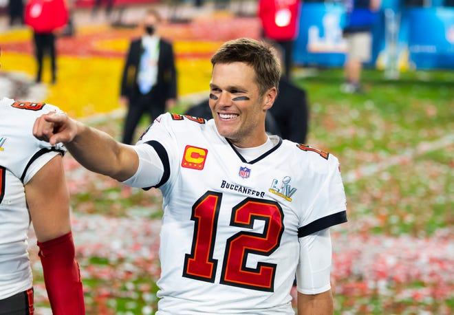 Tampa Bay Buccaneers quarterback Tom Brady (12) celebrates after beating the Kansas City Chiefs in Super Bowl LV at Raymond James Stadium.