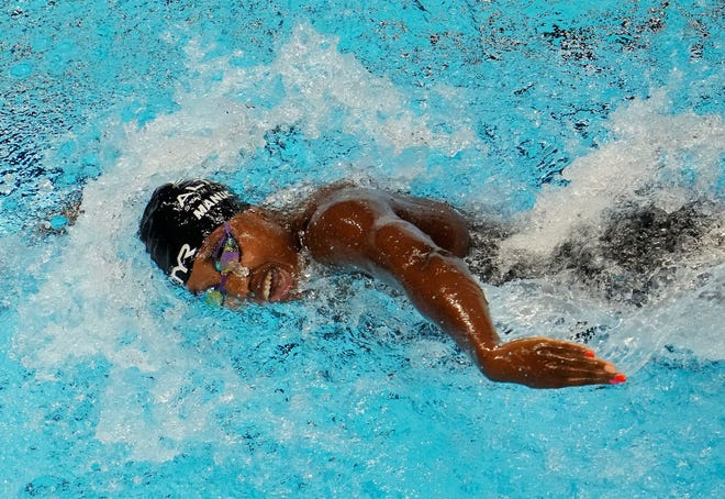 Simone Manuel swims in the women's 100 freestyle prelims during the U.S. Olympic Team Trials Swimming competition at CHI Health Center Omaha.