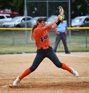 Josie Theilen fires a pitch for Ames against Benton Community during the fifth inning of the Little Cyclones' 7-5 loss to the Bobcats Friday at the Kiwanis Invitational in Roland.