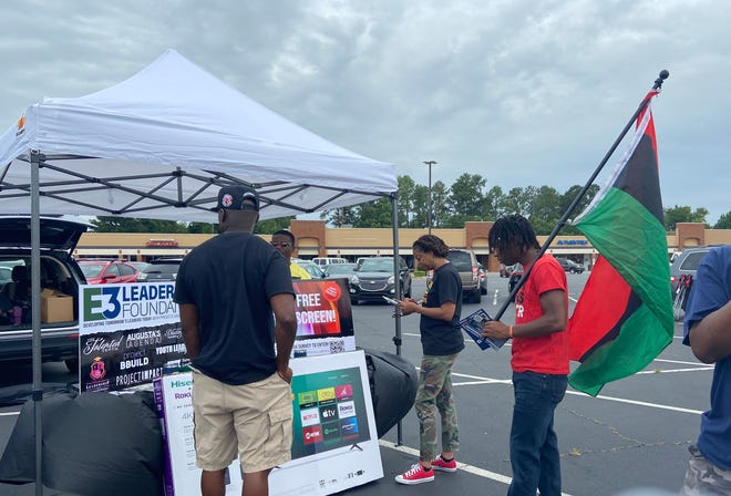 A celebration at Southgate Shopping Center in Augusta was one of several Juneteenth gatherings throughout the Augusta area on Saturday.