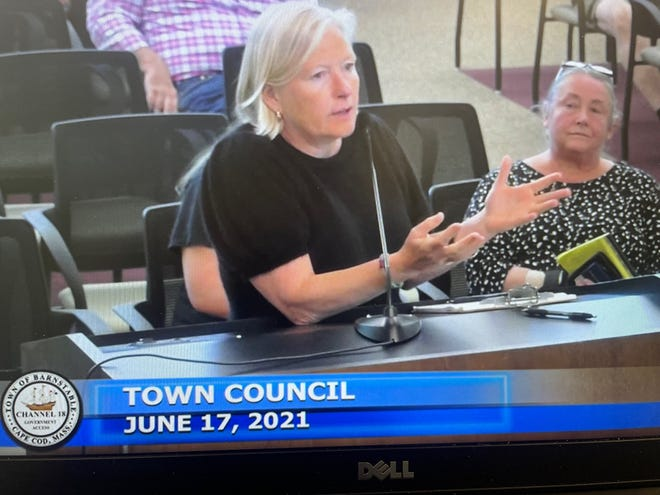 Look at the big picture, Wurfbain says: The concrete barriers along Hyannis Main Street help create a more family-friendly atmosphere. Seated to her right is Tina Carey, who is petitioning to have the barriers removed.