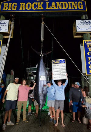 Angler Cole Pirrung celebrates the 656.5-pound marlin the WideSpread brought into the scales Friday night at the Big Rock Blue Marlin tournament. WideSpread was declared the winner of the 63rd annual tournment Saturday. [Big Rock Photo]