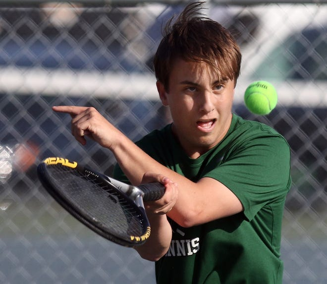 """Ponaganset senior Tristin Williams, shown in action in 2019, says the boys tennis team """"felt like we were playing at the next level all year."""" The Chieftains completed a perfect season on Saturday, and won their first-ever boys tennis title by beating Burrillville, 4-0,"""
