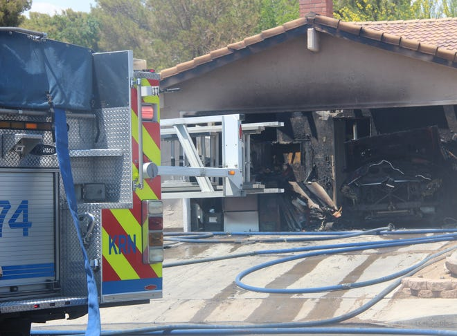 The fire appears to be out on Saturday at a garage on West Alice Avenue in Ridgecrest. Kern County firefighters responded to reports of the structure fire shortly after noon.