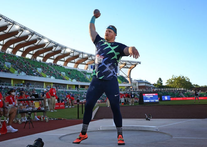 Ryan Crouser prepares for his final throw during the men's shot put on the first day of the U.S. Olympic Trials at Hayward Field.