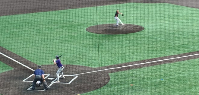 Hononegah's Braden Sayles, who went 2-for-3, bats against Plainfield East pitcher Brady Louck in the state Class 4A baseball semifinals Saturday morning in Joliet. Hononegah lost 5-3.