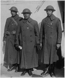 Lt. Col. Otis Beverly Duncan, center. Duncan was the highest-ranking Black officer to serve in the American Expeditionary Forces in Europe during World War I.