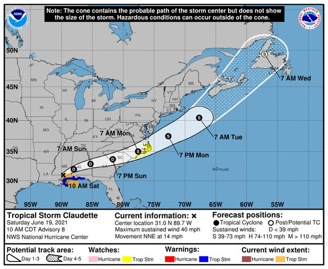 Heavy rain from Tropical Storm Claudette is expected Sunday for the Wilmington area.