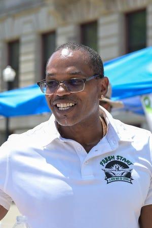 Derrick Kiser, former gang member and founder of Fresh Start, Saturday at City Hall.