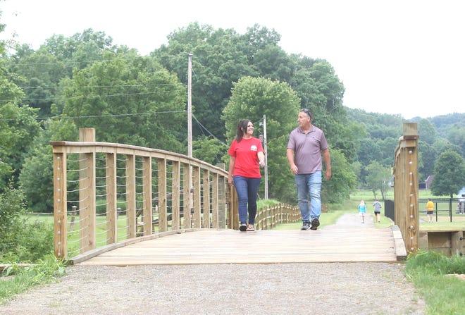 A bridge crosses Oldtown Creek on a trail at the Southside Community Park. TIMES-REPORTER/HANK KEATHLEY