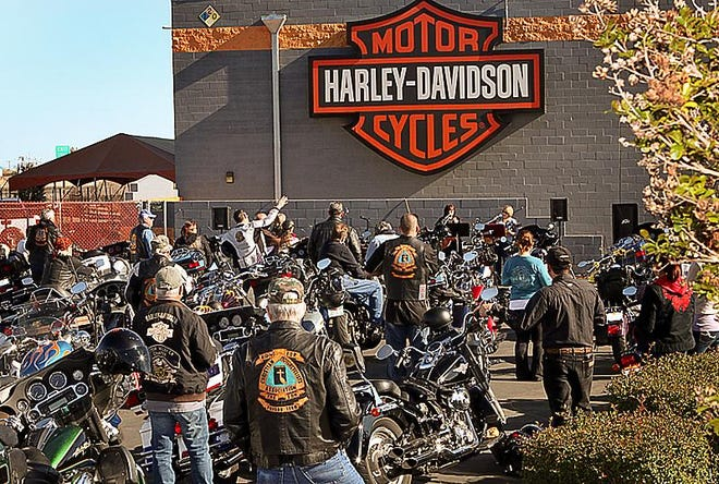 Bikers gather at the sixth annual Biker Church and Blessing service at Harley-Davidson of Victorville in 2013. Following a recent sale, the dealership was renamed Death Valley Harley-Davidson.