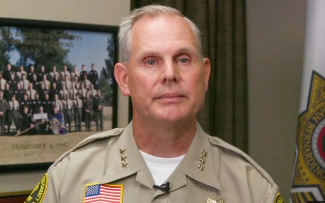 San Bernardino Undersheriff Shannon Dicus speaks in a video on Friday, June 18, 2021, about a Victorville deputy kicking a man during an arrest.