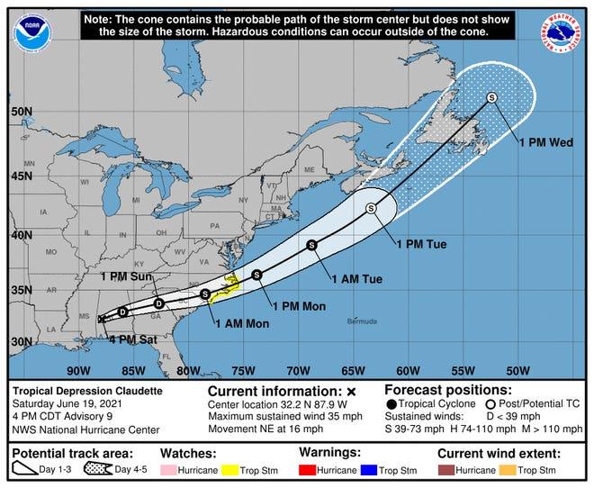 4 p.m. CT forecast for Tropical Depression Claudette on Saturday, June 19, 2021.
