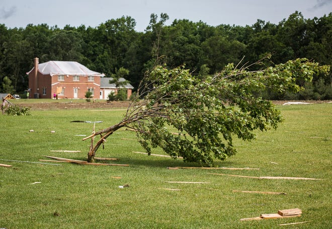 The National Weather Service confirmed a tornado touched down in Jay County during a storm Friday, June 18, 2021. The tornado destroyed several homes and other structures near Portland. No injuries were reported.