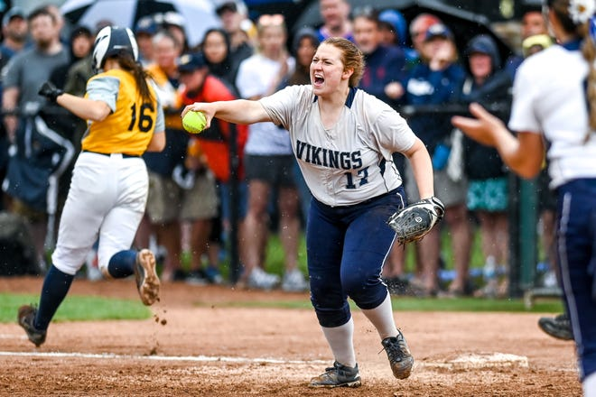 Marysville's Calle Perrin celebrates after an Owosso out in the fourth inning on Saturday, June 19, 2021, during the Division 2 final at Secchia Stadium on the MSU campus in East Lansing.