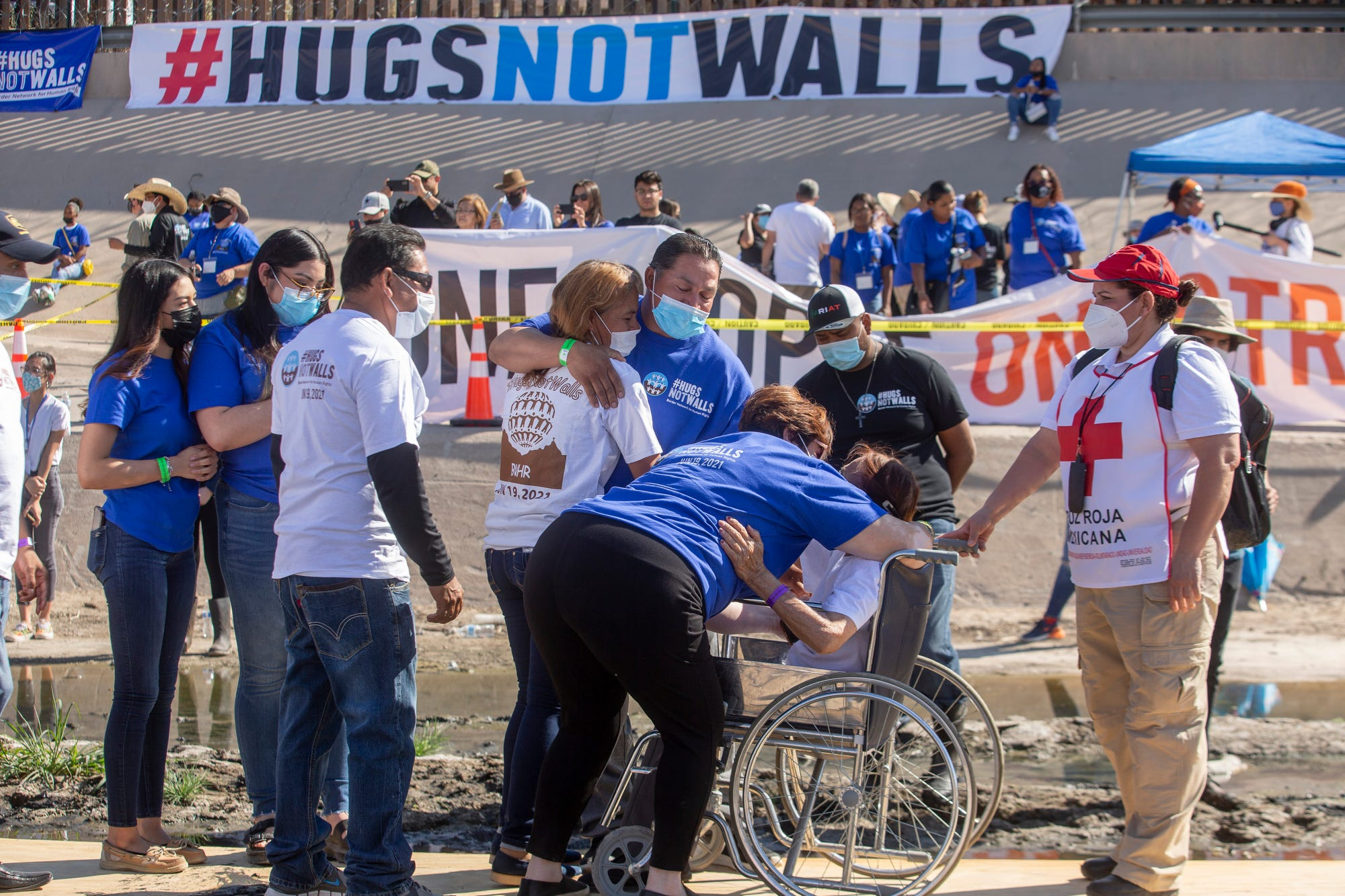 Separated families embrace in Rio Grande between El Paso, Mexico for Hugs Not Walls