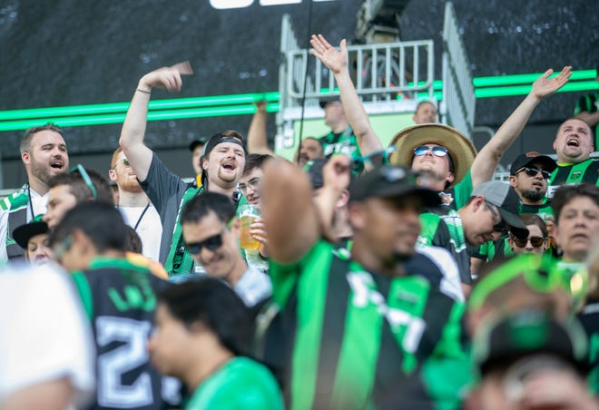 Austin Fc fans make their way into the stands at Q2 stadium to watch Austin FC and San Jose Earthquakes compete in  an MLS soccer match Saturday, June 19, 2021, in Austin, TX.