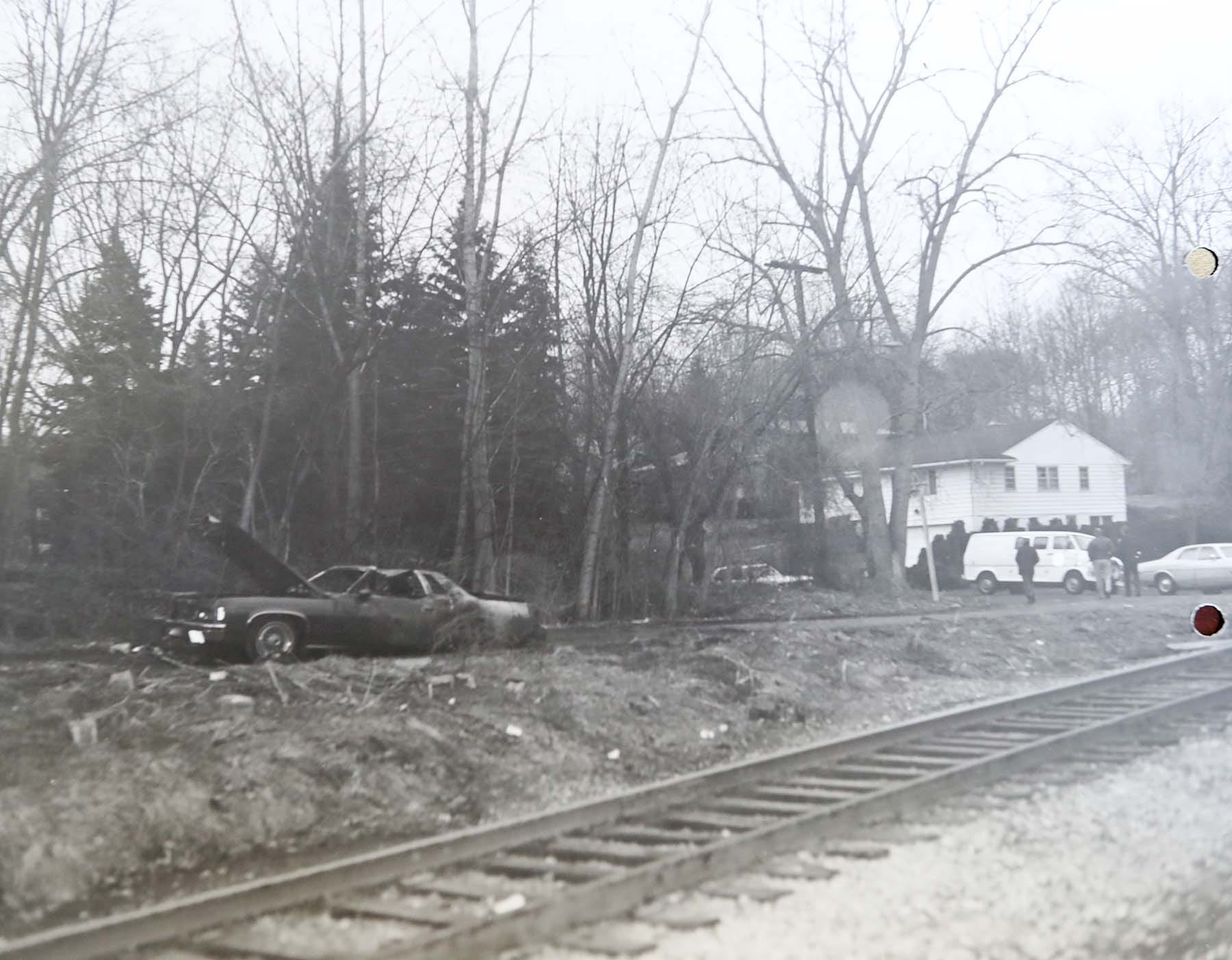 An Akron Police Department photograph shows the car that was found in 1978 with Leslie Barker's burned remains.