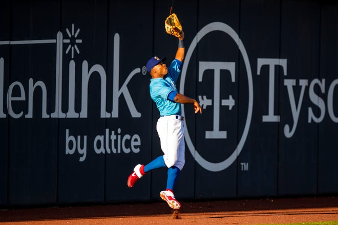 Amarillo Sod Poodles infielder Stone Garrett (11) catches a fly ball against the Midland RockHounds on Saturday, May 22, 2021, at HODGETOWN Stadium in Amarillo, Texas.