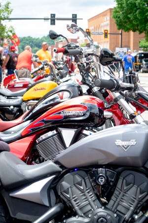 Motorcycles line Wheeling Avenue during the National Road Bike Show and Rib Fest on Saturday
