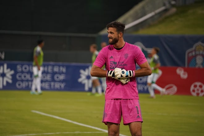 Energy FC goalkeeper CJ Cochran looks on during a 1-0 win against Memphis 901 on Saturday.