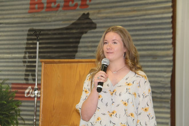 Elizabeth Tate was named the winner of the Osage County Cattlemen's Association's annual student scholarship during the Cattlemen's Luncheon on June 18. Tate said she intends to study animal science at Texas Tech University, and then attend veterinary school at Oklahoma State University. She said that she hopes to work with large animals. The scholarship was for $500.