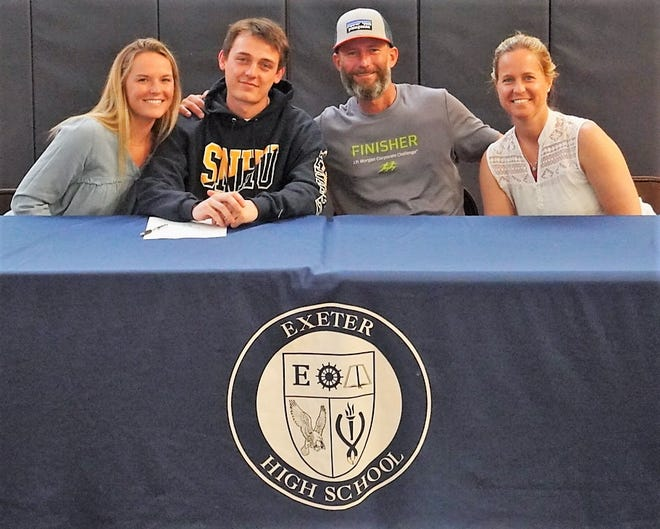 Exeter High School senior Jake Mantell, second from left, will play men's lacrosse next year at Southern New Hampshire University. The Exeter resident, who plans to major in business, is seated with his sister, Reilly; father, Brett; and mother, Heather.