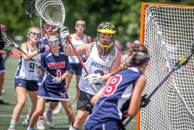 Burrillville goaltender Regan Polacek keeps her eye on Toll Gate's Samantha Quinn in Sunday's Division 3 state title match. Polacek came up with multiple saves in the final minutes to secure the win.