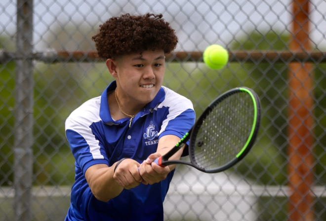 Cumberland's No. 1 singles player Luke Cunningham, shown in a May match, topped Mount St. Charles' Dan Corrao 6-2, 6-2 to help the Clippers to the Div. II boys tennis title on Saturday.