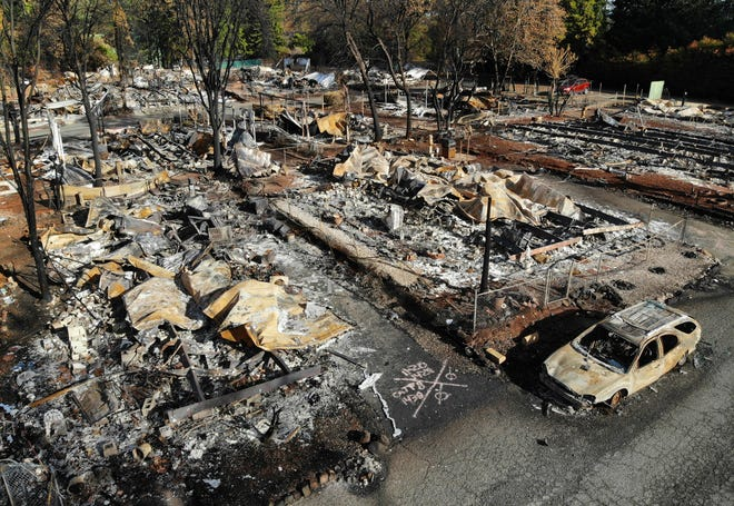 All but a few homes in the Pine Grove Mobile Home Park were destroyed in the Camp fire, seen in this file photo from November 2018. (Carolyn Cole/Los Angeles Times/TNS)