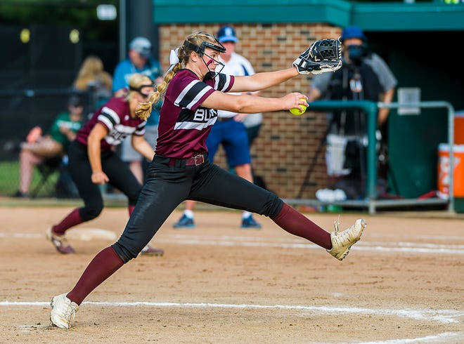 Sophia Lozmack of Buchanan pitches to a Richmond batter during their' Division 3 State Final game Saturday June 19, 2021 at Secchia Stadium on the MSU campus in East Lansing.  Lozmack  struck out eight in the 2-1 loss.